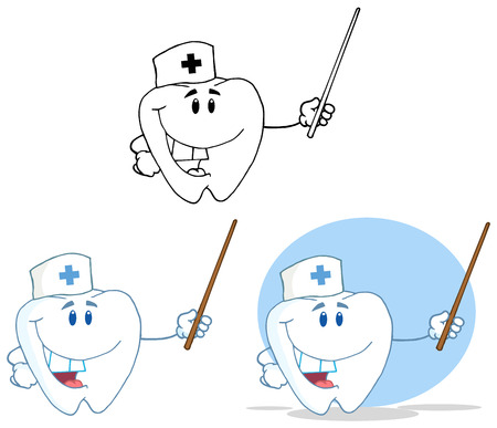 Tooth Cartoon Mascot Character 17. Collection Set Vector
