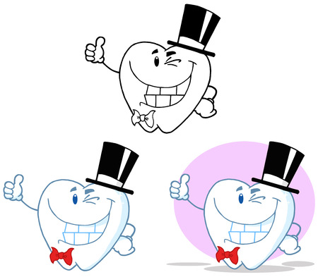 Tooth Cartoon Mascot Character 19. Collection Set Vector