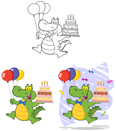 Birthday Crocodile Holding Up A Birthday Cake. Collection Set Vector