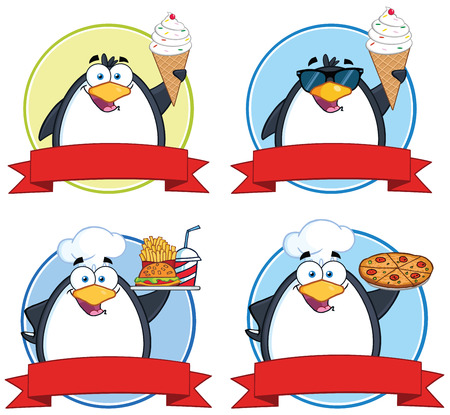 Penguin Circle Food Banners. Collection Set Vector