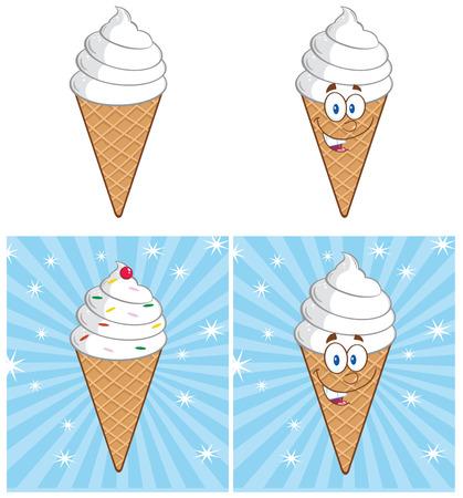 Cartoon Ice Cream Cone. Collection Set