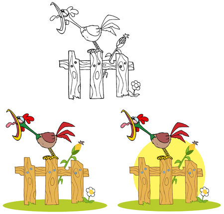 crowing: Rooster Cartoon Character Crowing Stepped On The Fence. Collection Set Illustration