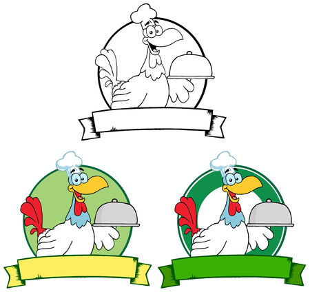 Rooster Chef Serving A Platter Over A Circle Banner. Collection Set Vector