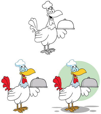 Rooster Bird Chef Serving A Platter. Collection Set Vector