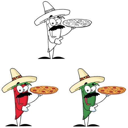 spicy mascot: Sombrero Chile Pepper Holds Up Hot Pizza. Collection Set