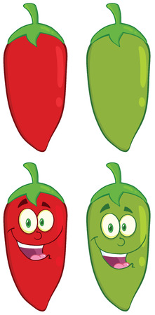 Smiling Chili Pepper Cartoon Mascot Character. Collection Set