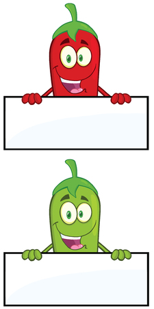 spicy mascot: Smiling Chili Pepper Cartoon Mascot Character Over Blank Sign. Collection Set