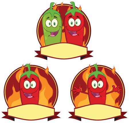 Mexique Chili Peppers Mascot Cartoon étiquette. Collection Set Banque d'images - 34953343