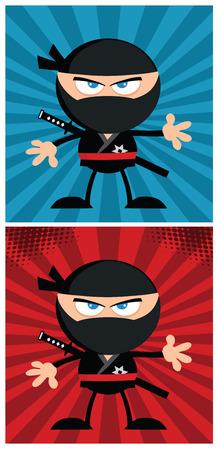 japanese ninja: Ninja Warrior Cartoon Character In Modern Flat Design. Collection Set 2