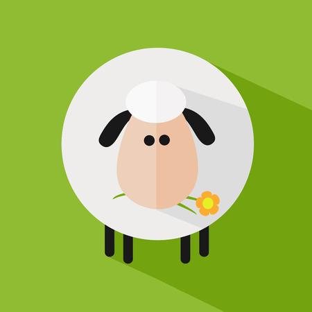 pasen schaap: Witte schapen met een Flower.Modern Flat Design Icoon Illustratie 1