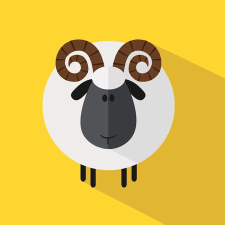 white coat: Cute Ram Sheep.Modern Flat Design Illustration variant 2