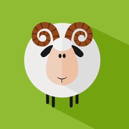white coat: Funny Ram Sheep.Modern Flat Design Illustration variant 1