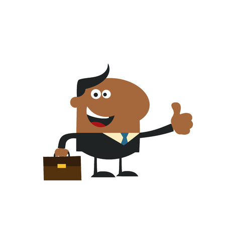 manager: Happy African American Manager Giving Thumb Up In Modern Flat Design Illustration.Isolat ed on white