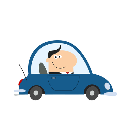 ed: Smiling Manager Driving Car To Work In Modern Flat Design Illustration.Isolat ed on white