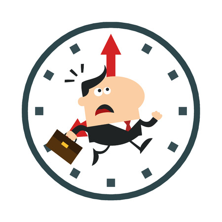 hurried: Hurried Manager Running In A Clock Modern Flat Design Illustration Isolated on white