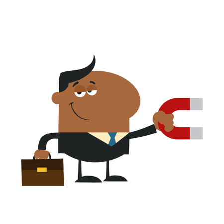 lodestone: Smiling African American Manager Holding A Magnet.Flat Design Style Illustration Isolated On White Illustration
