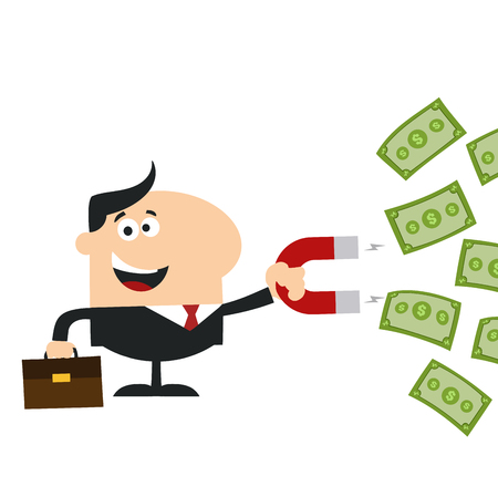 Happy Manager Using A Magnet To Attracts Money.Flat Design Style Illustration Isolated On White 矢量图像