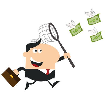 flying money: Feliz Gerente Chasing Dinero del vuelo con una ilustraci�n Net.Flat Dise�o Estilo Aislado En Blanco