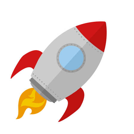 ships: Rocket Ship Start Up Concept.Flat Style Illustration Isolated On White