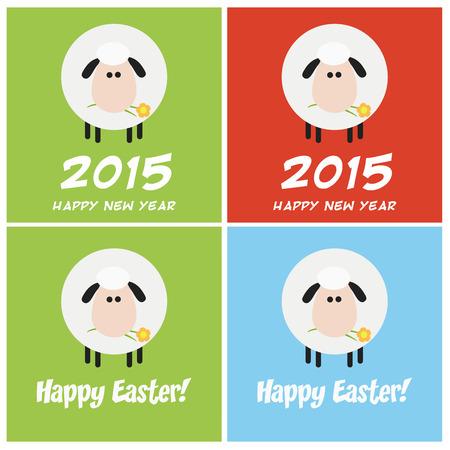 spring coat: Sheep Greeting Card Modern Flat Design.  Collection Set