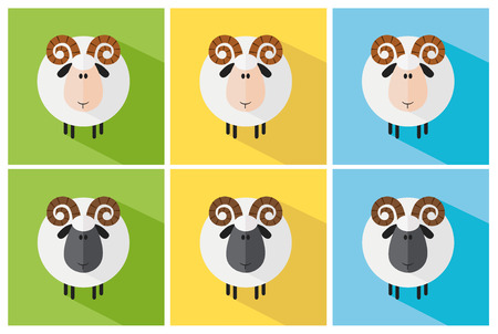 Aries Modern Flat Design Icon. Collection Set