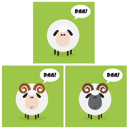 spring coat: Sheep And Ram With Speech Bubble Modern Flat Design. Collection Set Illustration