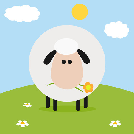 spring coat: White Sheep With Flower On A Hill.Modern Flat Design Easter Card