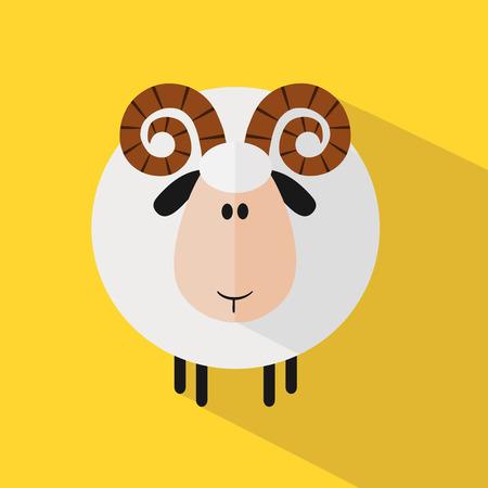 carnero: Divertido Ram Sheep.Modern Piso Diseño Ilustración variante 2
