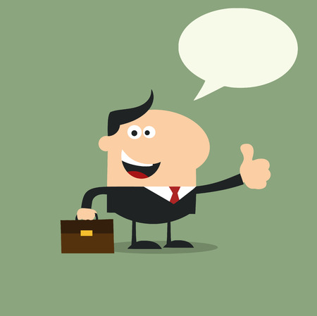 Happy Manager Giving Feedback In Modern Flat Design Illustration With Speech Bubble Vector