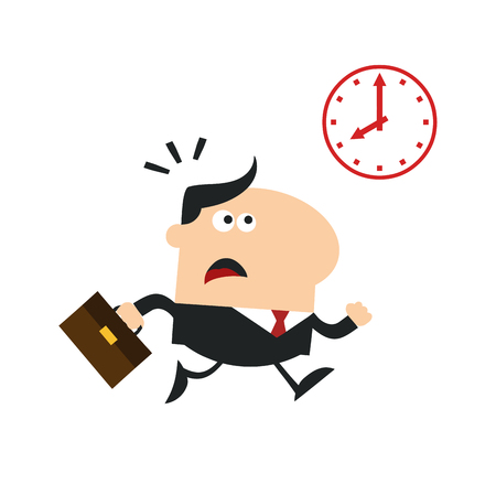 hurried: Hurried Manager Running Past A Clock Modern Flat Design Illustration Isolated on white