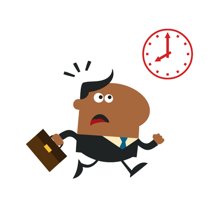hurried: African American Hurried Manager Running Past A Clock Modern Flat Design Illustration Isolated on white
