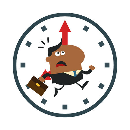 hurried: African American Hurried Manager Running In A Clock Modern Flat Design Illustration Isolated on white Illustration