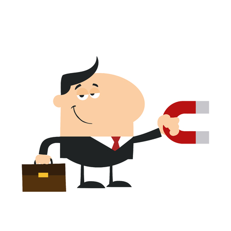 lodestone: Smiling Manager Holding A Magnet.Flat Design Style Illustration Isolated On White