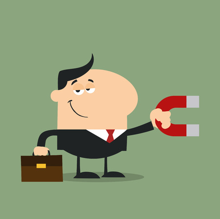 lodestone: Manager Holding A Magnet.Flat Design Style Illustration