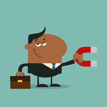lodestone: African American Manager Holding A Magnet.Flat Design Style Illustration