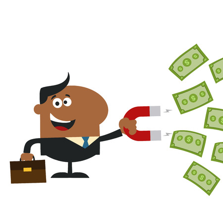 African American Manager Using A Magnet To Attracts Money.Flat Design Style Illustration Isolated On White