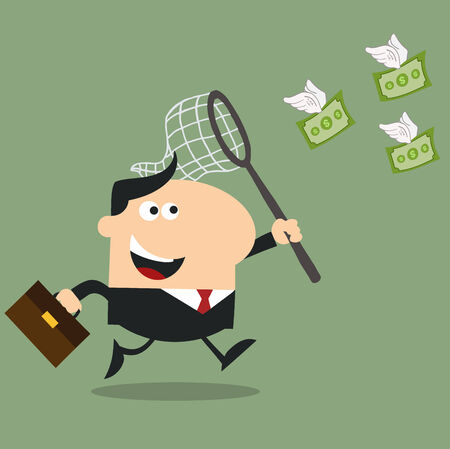 flying money: Manager Chasing Flying Money With A Net.Flat Design Style