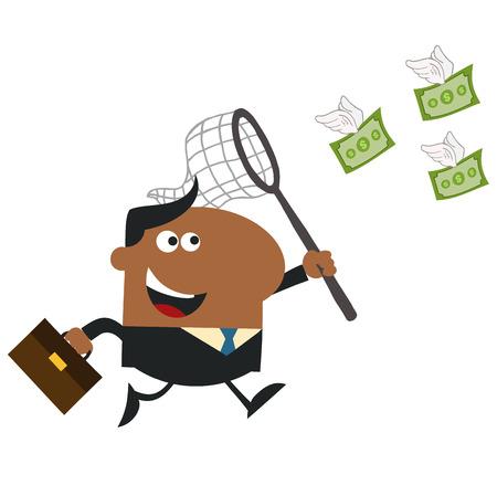 flying money: Africano americano Gerente Chasing Dinero del vuelo con una ilustraci�n Net.Flat Estilo Aislado En Blanco