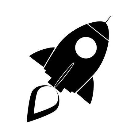 Black Retro Rocket Ship Concept. Illustration Isolated On White Vector