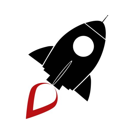Black Retro Rocket Concept. Illustration Isolated On White Vector