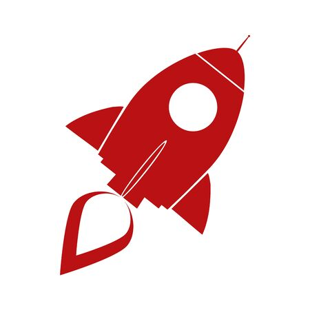 Red Retro Rocket Ship Concept. Illustration Isolated On White