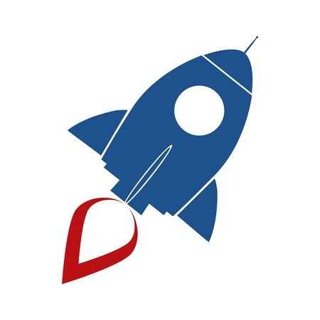 Blue Retro Rocket Ship Concept. Illustration Isolated On White Vector
