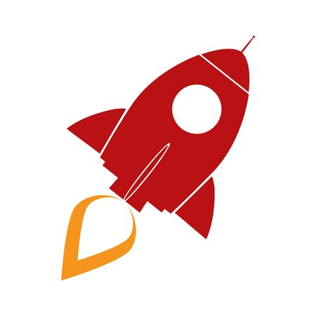 Red Retro Rocket Concept. Illustration Isolated On White Vector