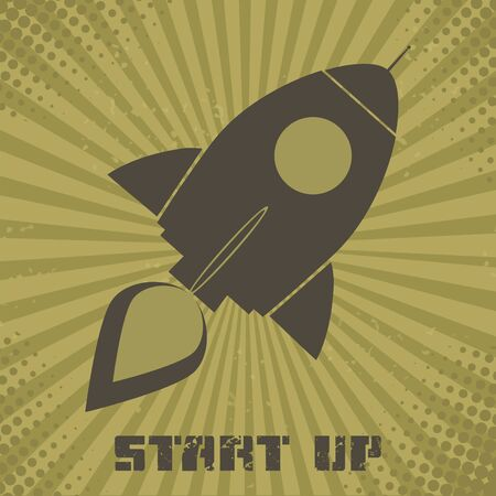 Vintage Retro Rocket.Concept. Illustration With Text Vector