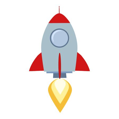 Rocket Start Up Concept Flat Style Illustration Isolated On White Vector