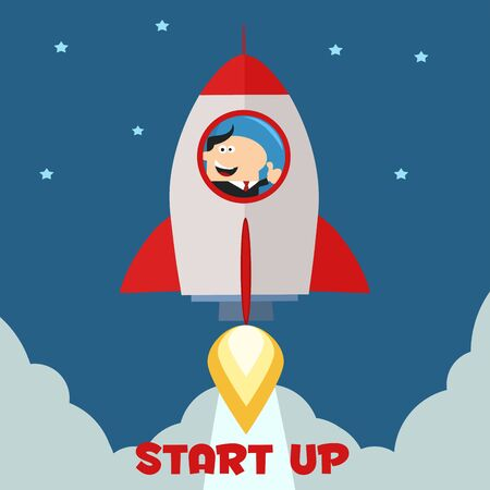 launching: Manager Launching A Rocket To The Sky And Giving Thumb Up.Flat Style Illustration With Text