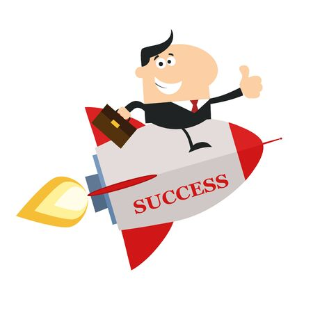 Manager Flying On The Rocket And Giving Thumb Up.Flat Style Illustration With Text 向量圖像