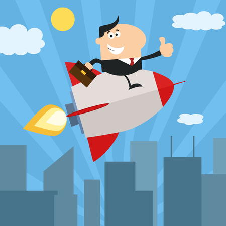 Manager Flying Over City And Giving Thumb Up.Flat Style Vector