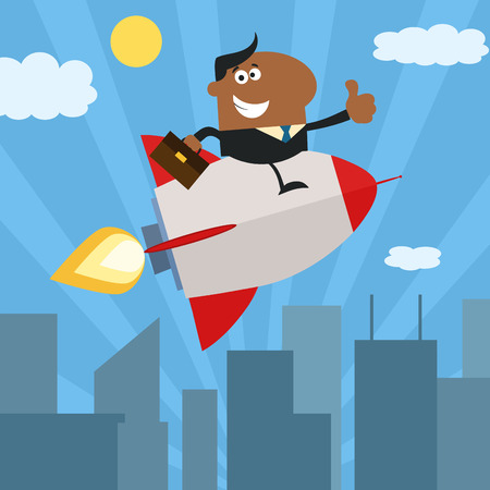 African American Manager Flying Over City And Giving Thumb Up.Flat Style Vector