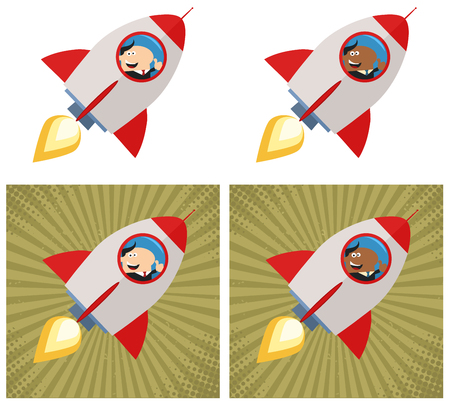 launching: Happy Manager Launching A Rocket. Flat Style Collection Set Illustration